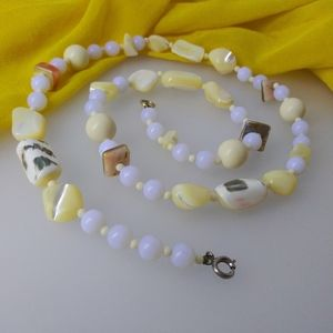 Antique Mother Of Pearl Beaded Necklace